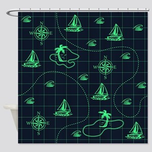 Neon Turquoise and Navy Blue Nautical Map Shower C