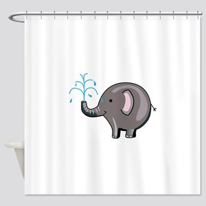 ELEPHANT SPRAYING WATER Shower Curtain