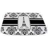 Black and white stripe Memory Foam Bathmats