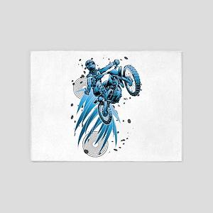 blue psycho dirt biker 5'x7'Area Rug