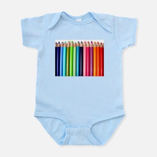 rainbow colored pencils white Body Suit