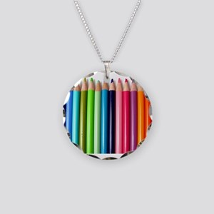 rainbow colored pencils whit Necklace Circle Charm