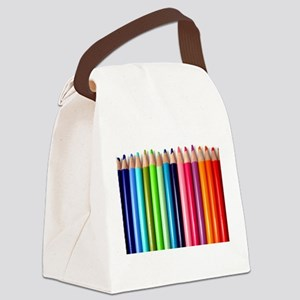 rainbow colored pencils white Canvas Lunch Bag
