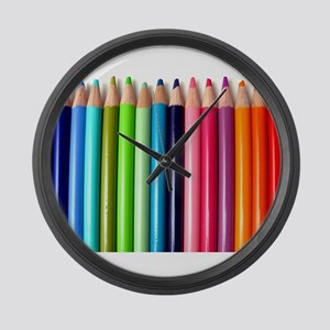 rainbow colored pencils white Large Wall Clock