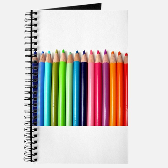 rainbow colored pencils white Journal