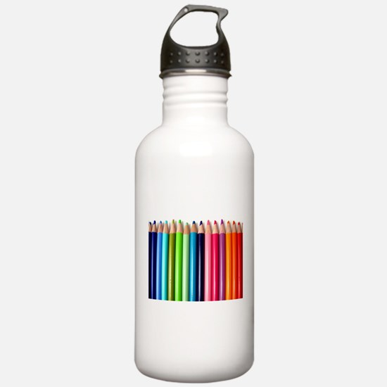 rainbow colored pencil Water Bottle