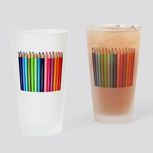 rainbow colored pencils white Drinking Glass
