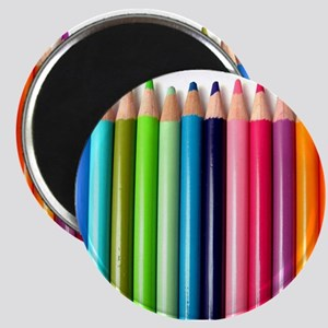 rainbow colored pencils white Magnets