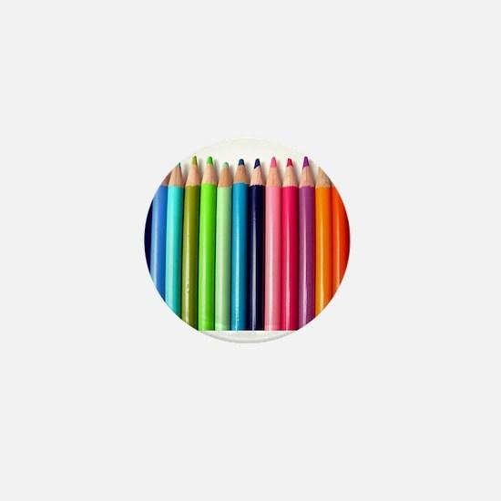 rainbow colored pencils white Mini Button