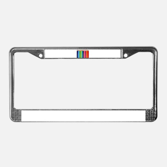 rainbow colored pencils white License Plate Frame
