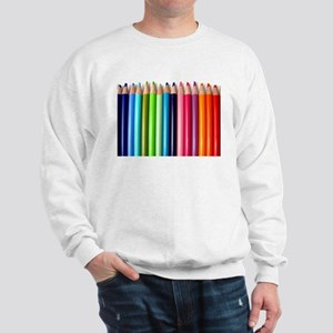 rainbow colored pencils white Sweatshirt