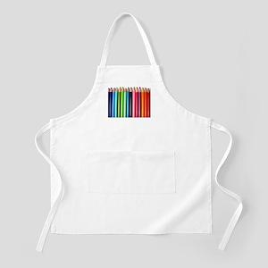 rainbow colored pencils white Apron