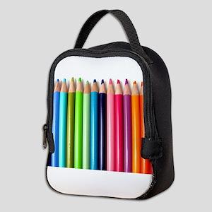 rainbow colored pencils white Neoprene Lunch Bag