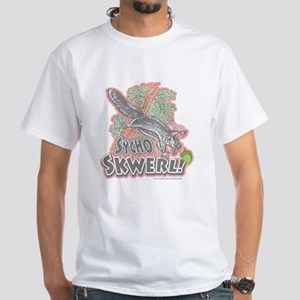 Sycho Skwerl Squirrel White T-shirt Pink