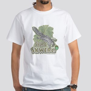Sycho Skwerl Squirrel White T-shirt Green
