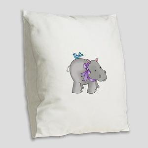 NOAHS HIPPO Burlap Throw Pillow