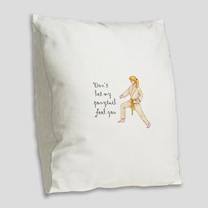 Martial Arts Girl Burlap Throw Pillow