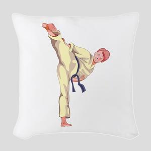 MARTIAL ARTS BOY Woven Throw Pillow