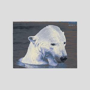 Swimming Polar Bear 5'x7'Area Rug