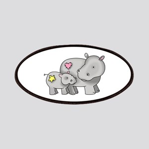 MOTHER AND BABY HIPPO Patches