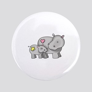 "MOTHER AND BABY HIPPO 3.5"" Button"