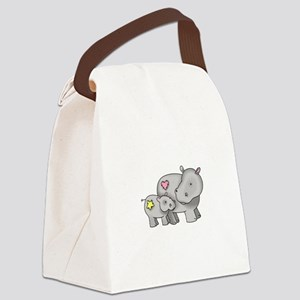 MOTHER AND BABY HIPPO Canvas Lunch Bag