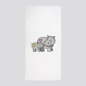 MOTHER AND BABY HIPPO Beach Towel