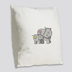 MOTHER AND BABY HIPPO Burlap Throw Pillow