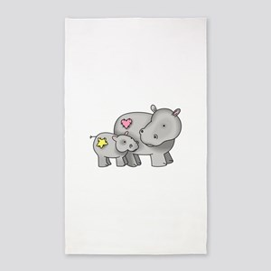MOTHER AND BABY HIPPO Area Rug
