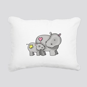 MOTHER AND BABY HIPPO Rectangular Canvas Pillow