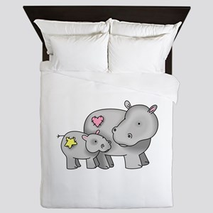 MOTHER AND BABY HIPPO Queen Duvet