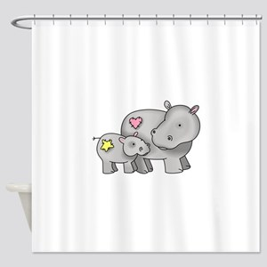 MOTHER AND BABY HIPPO Shower Curtain