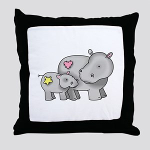 MOTHER AND BABY HIPPO Throw Pillow