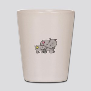 MOTHER AND BABY HIPPO Shot Glass