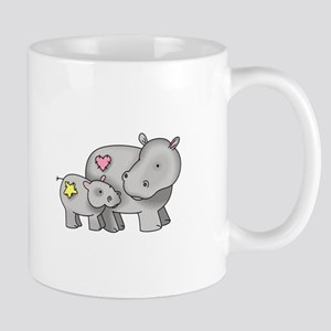 MOTHER AND BABY HIPPO Mugs