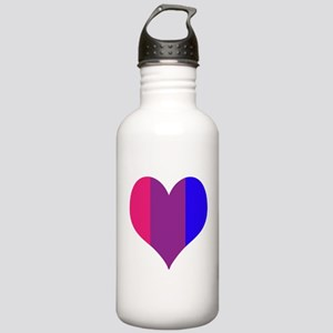 Striped Bisexual Heart Sports Water Bottle