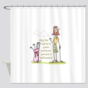 LIE IN GREEN PASTURES Shower Curtain
