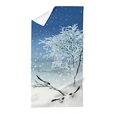 Magpie Winter Landscape Beach Towel