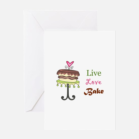 LIVE LOVE BAKE Greeting Cards