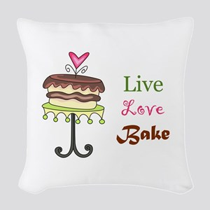 LIVE LOVE BAKE Woven Throw Pillow