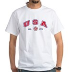 USA Firefighter White T-shirt