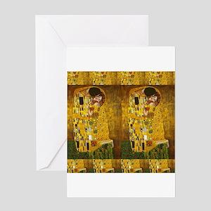 Klimt Kiss 2 Greeting Cards