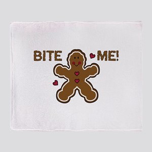 GINGERBREAD BITE ME Throw Blanket