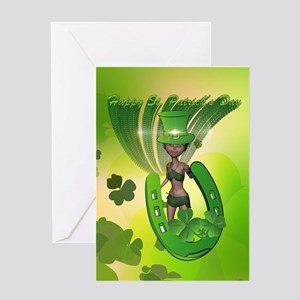 St. Patrick's Day, Funny, cool girl with hat Greet