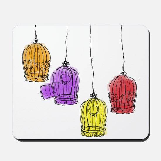 Colorful Birdcages 2 Mousepad