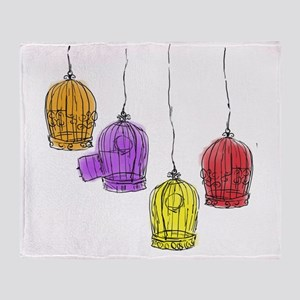 Colorful Birdcages 2 Throw Blanket