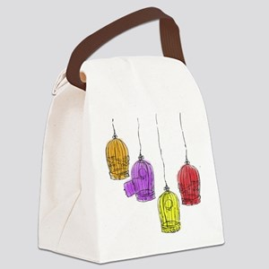 Colorful Birdcages 2 Canvas Lunch Bag