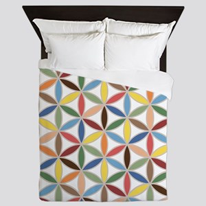 Flower of Life Retro Col Ptn Queen Duvet