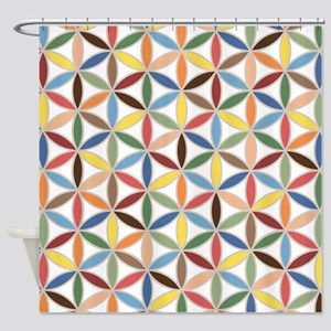 Flower of Life Retro Col Ptn Shower Curtain