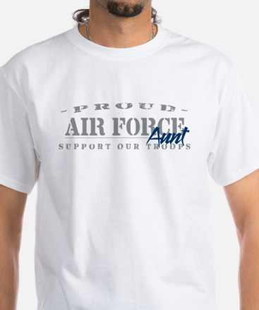 Proud Air Force Aunt (Blue) White T-shirt